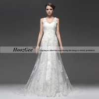 Free Shipping High-end Custom Mermaid Deep-V Neck Straps Sweep Train Tulle/Lace Wedding Dress With Beading/Sequins HoozGee-1719