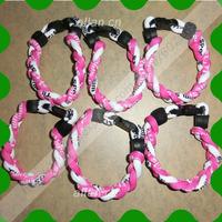 custom 100pcs titanium 3 ropes braided magnetic balance sport bracelet