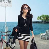 2015 autumn one-piece dress slim dress, female slim hip stripe basic shirt, hot sale