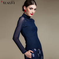 Autumn perspective gauze shayi basic shirt long-sleeve turtleneck sexy t-shirt plus size undershirt, female elegant clothing