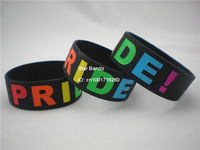 "Gay Pride Wristband, Silicon Bracelet, Fill in Rainbow Colour, Adult, 1"" Wide Band,  Black Colour, 50pcs/Lot, Free Shipping"