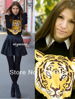 2013 spring autumn winter new fashion women wild tiger head pattern knitted sweater sweaters tops ladies coat free shipping xhf