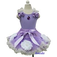 Halloween Lavender Cream White Flower Pettiskirt with Sofia Princess Lavender Tank Top 2pc Costume 1-7Y