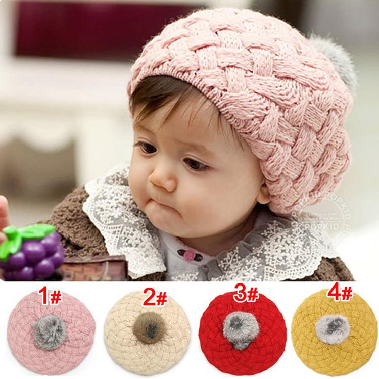 Rabbit Fur Ball Warm Winter Knitting Wool Crochet Beanie Tide Soft Cap Kid Hat Lovely Beret 1 to 4years old Children Accessories(China (Mainland))