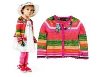 2013 new Hot  girls designer girls flower sweater  girls design sweater kids cardigan children outwear