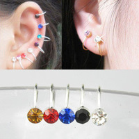 20 Pcs 10pairs lots mix colors Clip On U Body Crystal Rhinestone Earrings Nose Lip Ring Ear Cuff Stud Pin