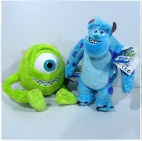 Monsters Inc free shipping Monsters University 25cm 9.8'' 1Set=Monster Mike Wazowski+James P. Sullivan plush toy for kids gift