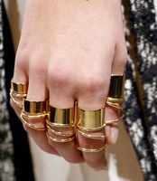 Wholesale  9PCS/Set Hot Fashion Punk Gold Tone Wide Band Knuckle Midi Mid Rings New