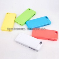 50pcs/lot Wholesale For Iphone 5C charger case battery 2200mah 5 colors in stock support IOS 7