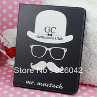 Gentleman Beard Mr. Mustache Leather Shell Flip Folio Case Stand Cover For iPad 2/3/4 ,free shipping