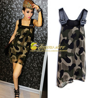 USA Free Shipping 2013 New Arrivals Womens Camouflage Print Army PU Splicing Wide Strap Chiffon Casual & Fashion Mini Dress