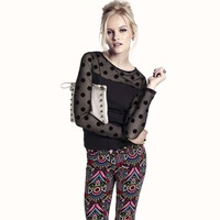 Womens velvet net patchwork dot decoration t-shirt for freeshipping
