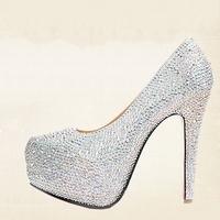 2013 Women's Ultra High-Heels Shoes Rhinestone SWA Crystal Stiletto High Heels 11-14cm Lady Pumps Platform Wedding Shoes