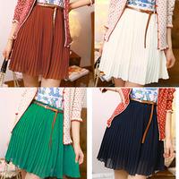 New Fashion 2014 Vintage Women Pleated Skirts/Chiffon Mini Skirts For Women/Brand Casual Women Clothing+Belt