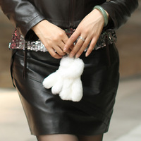 2013 rex rabbit hair fur bag key wallet women's animal feet handbag  hangings