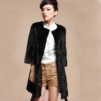 Hot Sale Black Women Coat Winter Fur Natrual Mink Fur Overcoat For Woman Winter Warm Outwear Splice Fur O-Neck EMS Free Shippng