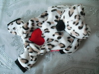 Super soften leopard print dog winter coat with loving heart Pet winter apparel clothes/clothing free shipping