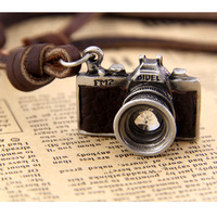 Crystal VINTAGE CAMERA Pendant NECKLACE Antique Brass/silver LONG Leather CHAIN