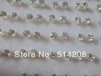 free shipping 36pairs/lot with heart box silver 4mm round zircon stones stud earrings jewelry for woman