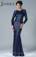 Luxury Jewel Heavy Sequins Long Sleeves Mermaid Prom Dresses Custom Made 2014