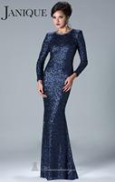 Luxury Jewel Heavy Sequins Long Sleeves Mermaid Prom Dresses Custom Made 2014