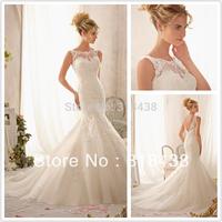 New Design TR-289 Elegant Mermaid  Embroidered Lace Appliques on Net White/Ivory  Wedding Dress VESTIDO DE NOIVA