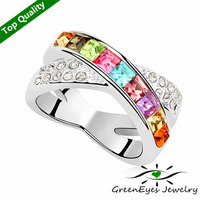 Free Shipping 18K Platinum Plated Crystals Rings for women Ceremony Anniversary Valentine's Day lover's Birthday Gift This Life