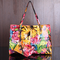2013 genuine leather female bags cowhide shoulder bag handbag oil painting bag flower messenger bag large