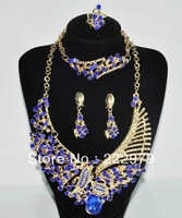 Free Shipping Gold Plated Fashion Crystal Tear Drop Bib Necklace/ love bracelet/ necklace custume jewelry sets for Wedding Party