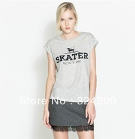 A325 Fashion 2013 preppy style dog skater printed light gray T-shirt Womens clothing Free Shipping