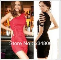 Free Shipping Europe Oblique Tight Dress Sexy Nightclub Dress