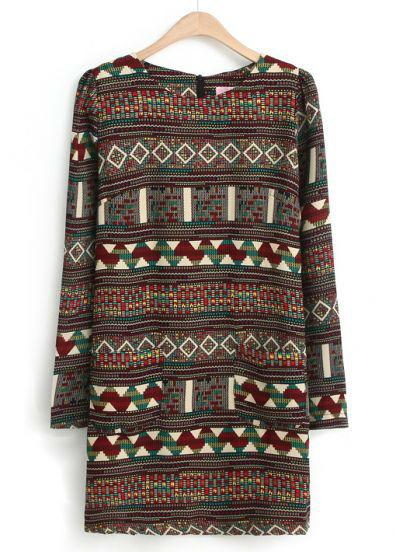 2015 Brand Summer Fashion Women Dresses Ethnic Spain Multi-Color Long Sleeve Tribal Vintage Pattern Pencil Zip Dress(China (Mainland))