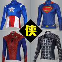 2014 Hot Superman Jersey Man Of Steel Captain American The Avengers Spide-rman  Bicycle Kits Cycling Long Jersey SIZE S-XXXL