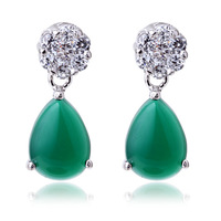 S925 pure silver green agate earrings fashion accessories Women silver