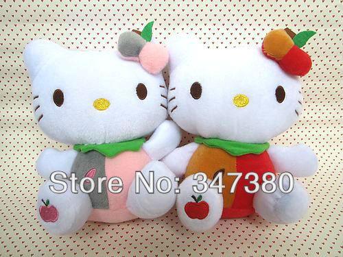 Free Shipping hello kitty kt cat soft doll plush stuffed animals toys ,birthday gifts 2pcs Wholesale & Retail(China (Mainland))
