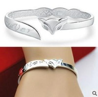 Brand fox bangles 925 silver and 18k white gold plated love bracelets bangles for women wholesale luxury jewelry free shipping