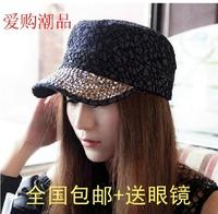 Lace rhinestone flat military hat baseball cap duck tongue female hat short