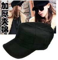 Autumn and winter hat female paintless woolen black cadet military cap hat sunbonnet casual cap