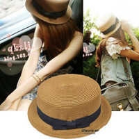 Boa straw braid flat fedoras bow beach straw hat female summer