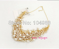 Free Shipping Multi-layers Gold Chain with White Pearls Necklace Bride Made Wedding Pearls Necklace
