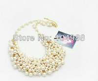 Free Shipping European Fashion Women Loved Multi-layers White Imitation Pearls Necklace Jewelry