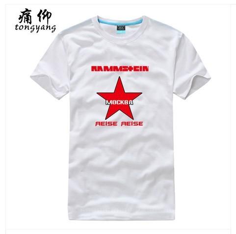 Rock roll band Rammstein Casual Black T-Shirts Men's Fashion Cotton Shorts Sleeves Sports Custom White Print T-Shirt T-117336(China (Mainland))