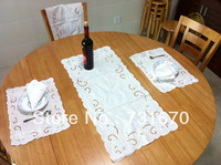 Handmade white embroidered craft elegant hollow flower pattern Cotton&Jute taclecloth set T1082