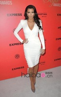 Top Quality 2013 New Arrival HL Bandage Dress White Silk Long Sleeve Dress Celebrity Dress Evening Party Dress