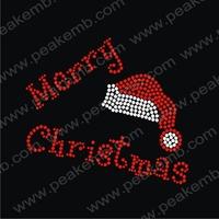 New Design Merry Christmas Rhinestone Hat Designs Custom Hotfix Rhinestones Crystal Stone Wholesale Free Shipping 50Pcs/Lot