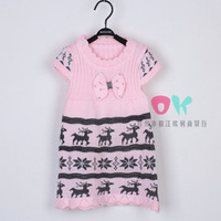 Wholesale 3pcs/lot baby girl's fashion Knitted Christmas deer bottoming shirts/sweater kids reindeer bownot cardigant dress.311