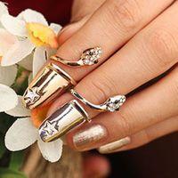 New Hot Shiny Rhinestone Star Punk Nail Sets Jewellery Finger Rings / Snake Fake Nail Art Rings for Women Free Shipping