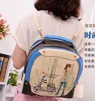 2014 Women Handbag Cartoon Print Color PU Shoulders Bag Block Fashion Multi-Purpose Student School Bag Leather Bag