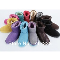 Free shipping 2013 winter warm candy color genuine leather short snow boots, NEW Arrival high quality women's fashion boots