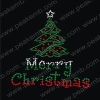 Hot Sale T Shirt Motif Christmas Tree Transfer Designs Rhinestone Iron Ons Custom Design Available Free Shipping 50Pcs/Lot